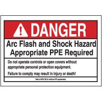 Danger PPE Required Arc Flash Label