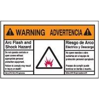 Bilingual Warning Arc Flash Label