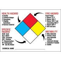 NFPA Diamond Format Chemical Hazard Labels