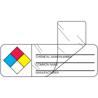 Self-Laminating NFPA Labels - Chemical Name/Manufacturer