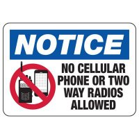 Cell Phone Notice Signs - No Cellular Phone Or Two Way Radios