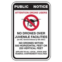 No Drones Over Juvenile Facility Sign - NC