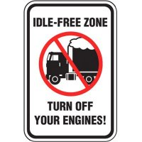 No Idling Signs - Idle-Free Zone Turn Off Engines