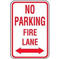 No Parking Fire Lane Sign (Double Arrow)