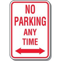 No Parking Any Time Signs (Double Arrow)