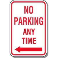 No Parking Anytime Sign with Arrow