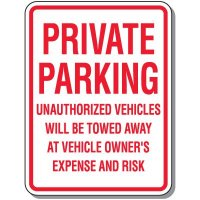 No Parking Signs - Private Parking