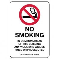 No Smoking In Common Areas Of This Building Sign