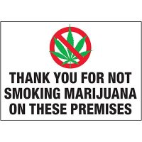 No Smoking Labels - Thank You For Not Smoking Marijuana