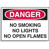 No Smoking Lights Open Flames - Hazard Warning Labels