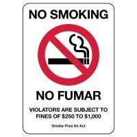 No Smoking/No Fumar Violators Are Subject To Fines Sign