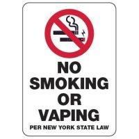 No Smoking or Vaping Per New York State Law
