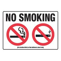 No Smoking w/ Cigarette & E-Cigarette Graphic - CA Smoking Signs