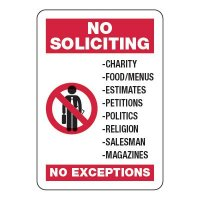 No Soliciting No Exception - Visitor Signs