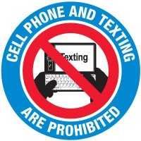No Texting Security Labels - Cell Phone And Texting Are Prohibited