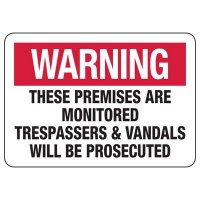 Vandalism Signs - Warning