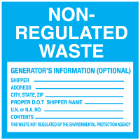 Non-Regulated Waste Hazardous - Container Labels