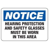 Notice Hearing Protection Required Sign