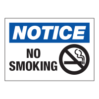Notice No Smoking (With Graphic) - Hazard Warning Labels