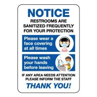 Notice Restrooms Are Sanitized Frequently Sign