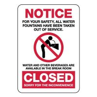 Notice Water Fountain Closed Sign