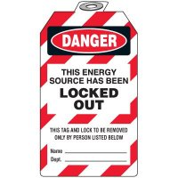 Padlock Tags - Danger This Energy Source Has Been Locked Out