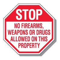 Stop No Firearms Weapons or Drugs Allowed Sign