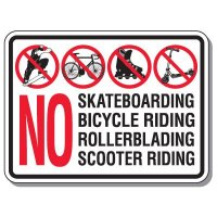 Parking Lot Safety & Security Signs - No Skateboarding Bicycle Riding