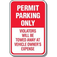 Outdoor Parking Permit Signs - Violators Will Be Towed Away