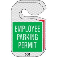 Reflective Hanging Parking Permits - Employee Parking Permit