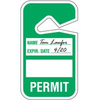 Green Write On Hanging Parking Permits
