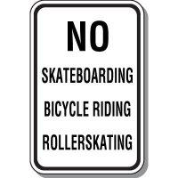 No Skateboarding, Biking, Roller Skating Sign