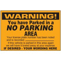 No Parking Area Warning Labels