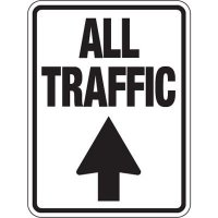 "ALL TRAFFIC (Straight Ahead Arrow) - 24"" H x 18"" W Aluminum Foil Non-Reflective Directional Sign"