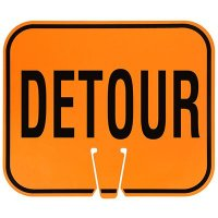 Plastic Traffic Cone Signs- Detour
