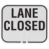 Plastic Traffic Cone Signs- Lane Closed