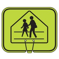Plastic Traffic Cone Signs- Pedestrian Crossing Symbol Arrow Sign V-SCWK-R