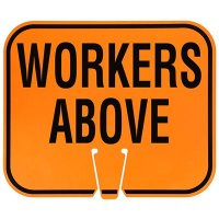 Plastic Traffic Cone Signs- Workers Above