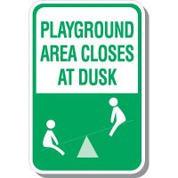 Playground Area Closes At Dusk Signs