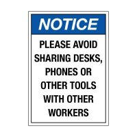 Please Avoid Sharing Desks Label