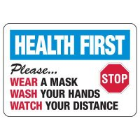 Health First - Please Wear a Mask & Wash Your Hands Sign