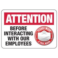 Please Wear a Mask Before Interacting With Our Employees Sign