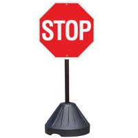 "STOP - 24"" H x 24"" W Plastic Reflective Portable Warning Sign Kit"