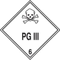 PG III Hazardous Material Placards