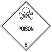 Poison Hazard Class 6 Material Shipping Labels