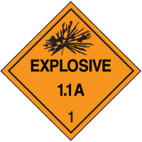 Explosive 1.1A Hazard Class 1 Material Shipping Labels