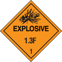 Explosive 1.3C Hazard Class 1 Material Shipping Labels