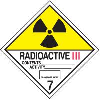 Radioactive III Hazard Class 7 Material Shipping Labels