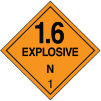 Explosive 1.6 N Hazard Class 1 Material Shipping Labels