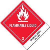 Flammable Liquids UN1866 DOT Placard Shipping Labels